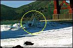Sailboat capsize at Fort Point, San Francisco, on 02 April 2005.