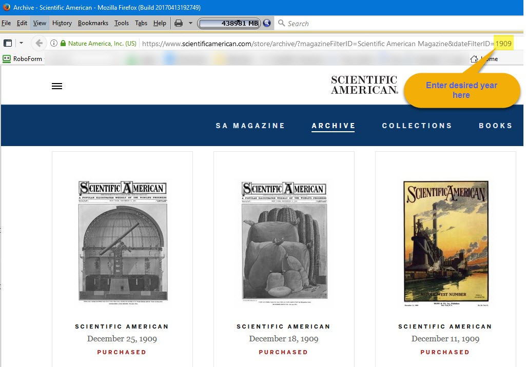 Scientific American archives URL wit year highlighted