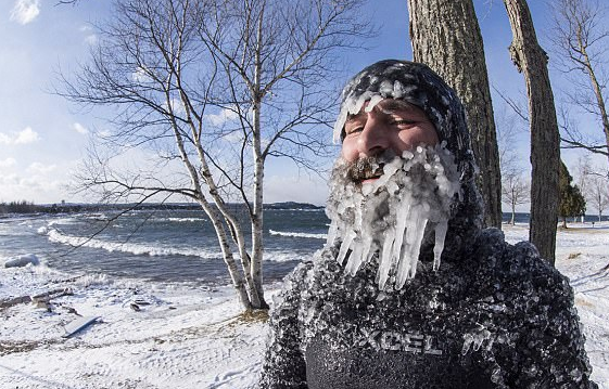 Dan was hoping to get an ice beard going since it was so cold outside, -24F (-31C) with the wind chill factor. Perfect conditions to grow an ice beard.