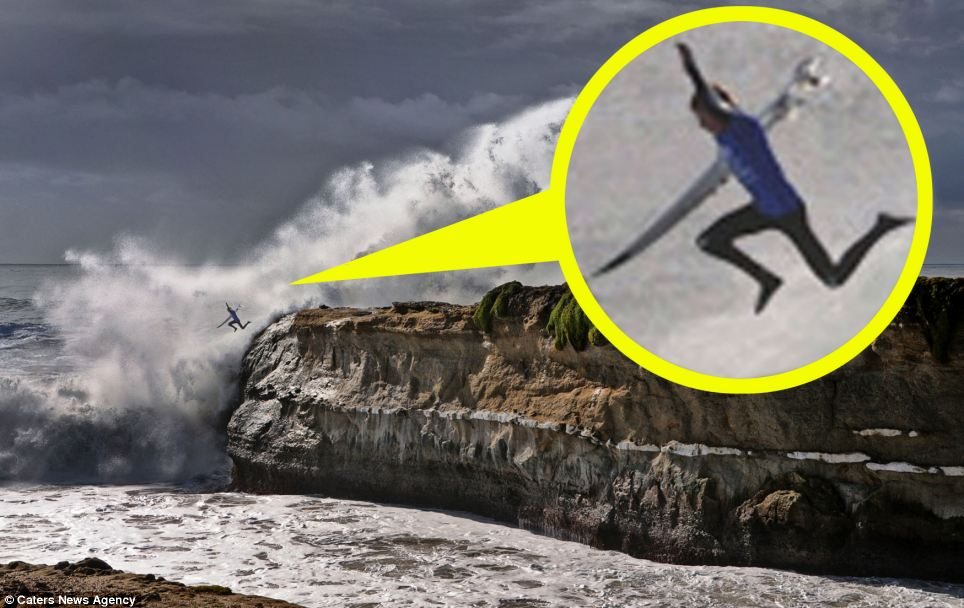 Incredible moment -- Death-defying surfer jumps off cliff to join competition after turning up late (October 2013)